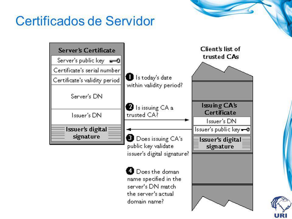 Identificação do CA Autenticação do Servidor SSL/TLS permite ao usuário confirmar a identidade do servidor. SSL Identificação do Servidor Chave públic