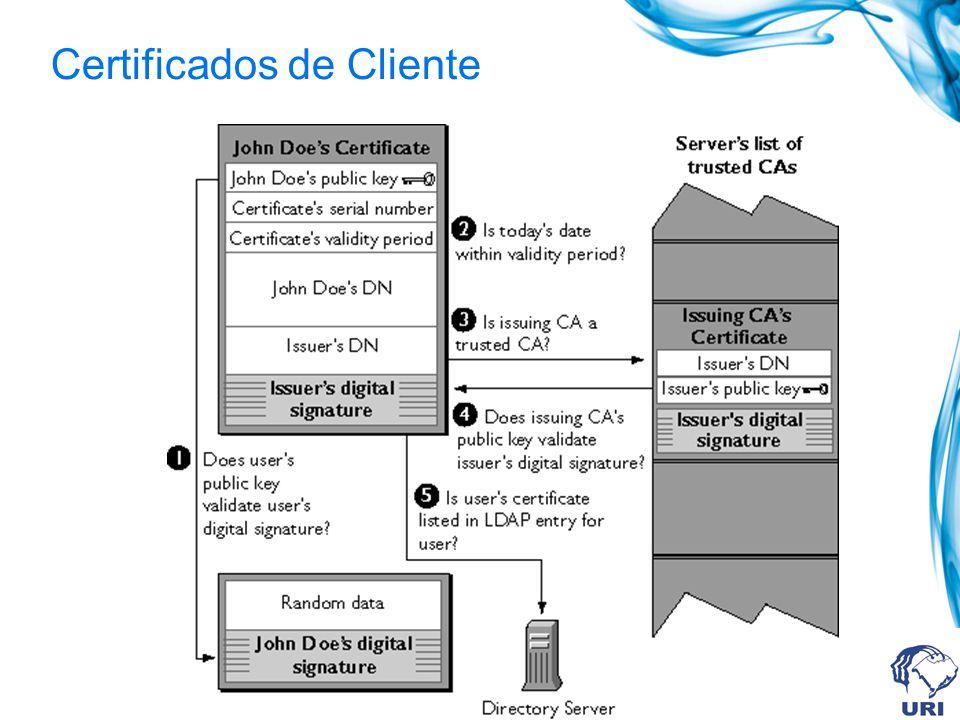 Autenticação do Cliente SSL permite ao servidor identificar a identidade do cliente. SSL Identificação do CA Identificação do Cliente Chave pública do