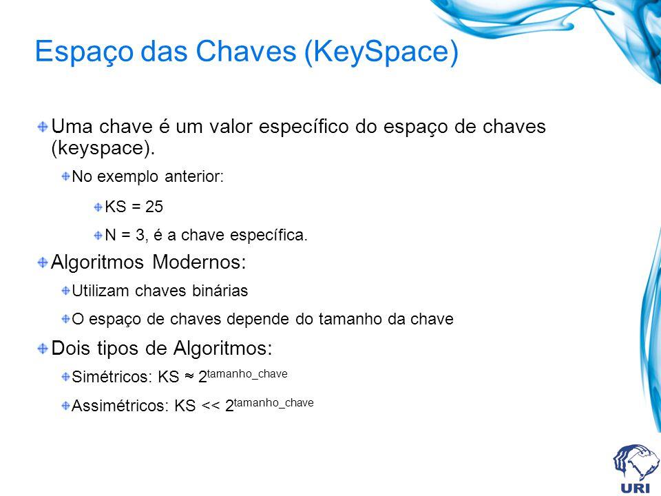 Criptografia por Chaves Princípio: O resultado da criptografia depende de um parâmetro de entrada, denominado chave. Exemplo. Caesar Cipher Chave: N =