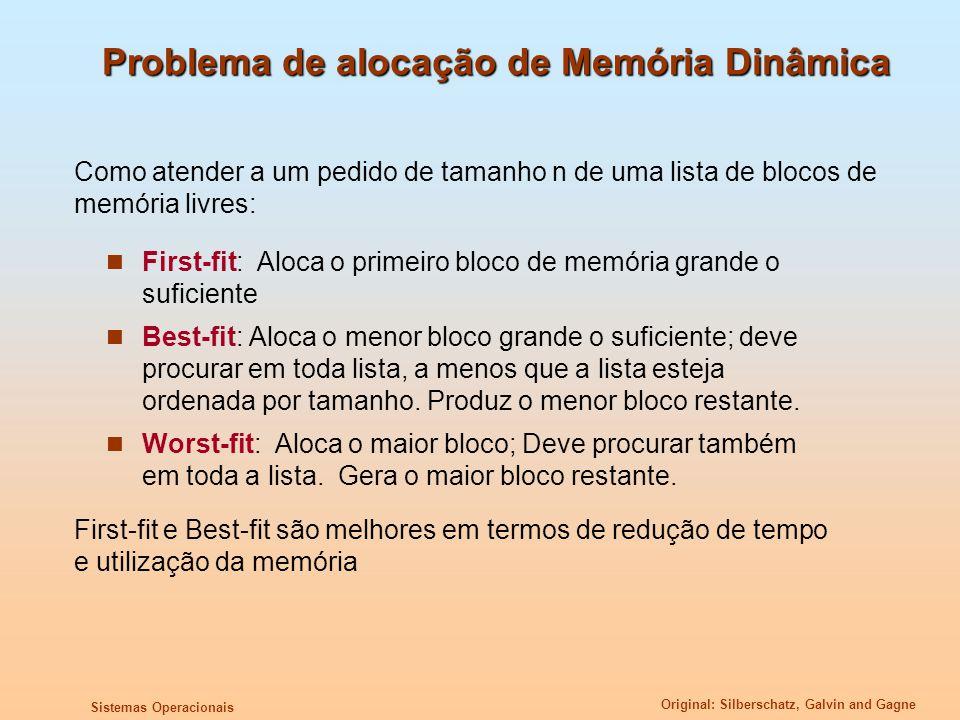 Original: Silberschatz, Galvin and Gagne Sistemas Operacionais Problema de alocação de Memória Dinâmica First-fit: Aloca o primeiro bloco de memória g