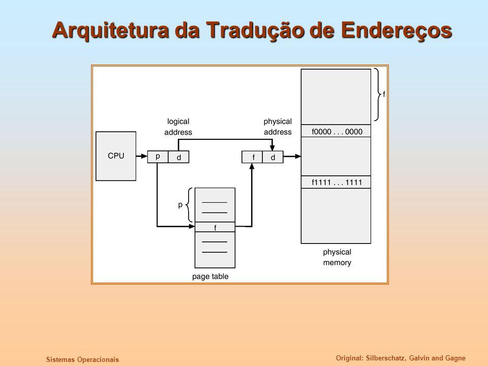 Original: Silberschatz, Galvin and Gagne Sistemas Operacionais Arquitetura da Tradução de Endereços