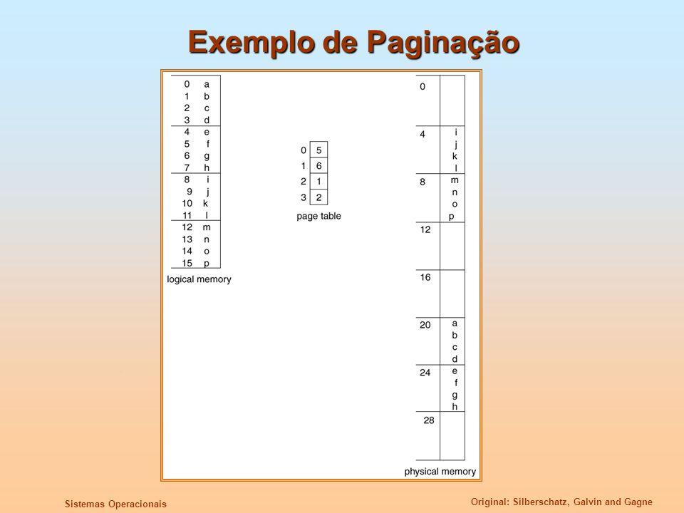 Original: Silberschatz, Galvin and Gagne Sistemas Operacionais Exemplo de Paginação