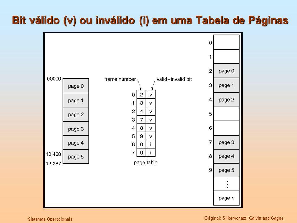 Original: Silberschatz, Galvin and Gagne Sistemas Operacionais Bit válido (v) ou inválido (i) em uma Tabela de Páginas