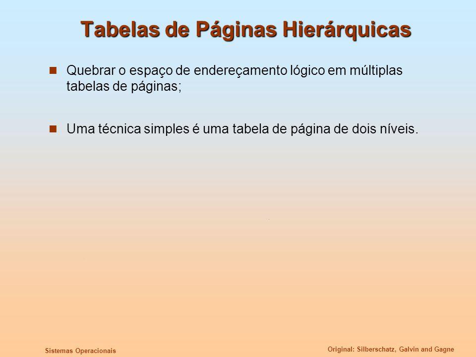 Original: Silberschatz, Galvin and Gagne Sistemas Operacionais Tabelas de Páginas Hierárquicas Quebrar o espaço de endereçamento lógico em múltiplas t