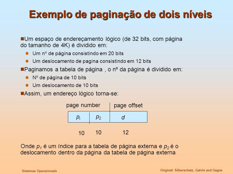 Original: Silberschatz, Galvin and Gagne Sistemas Operacionais Exemplo de paginação de dois níveis Um espaço de endereçamento lógico (de 32 bits, com