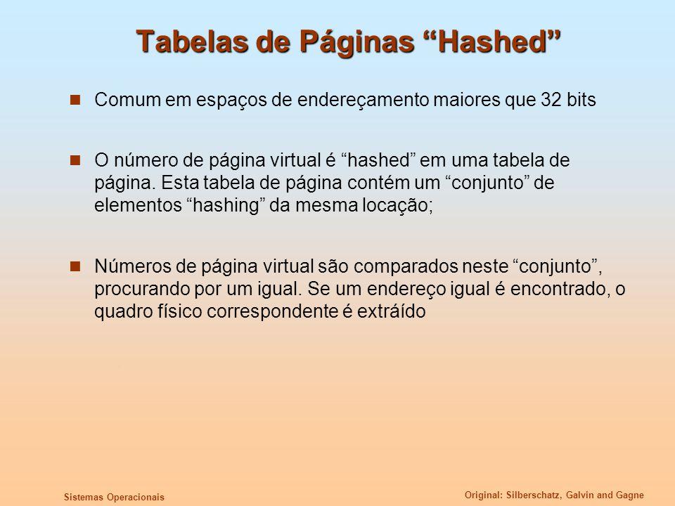 Original: Silberschatz, Galvin and Gagne Sistemas Operacionais Tabelas de Páginas Hashed Comum em espaços de endereçamento maiores que 32 bits O númer