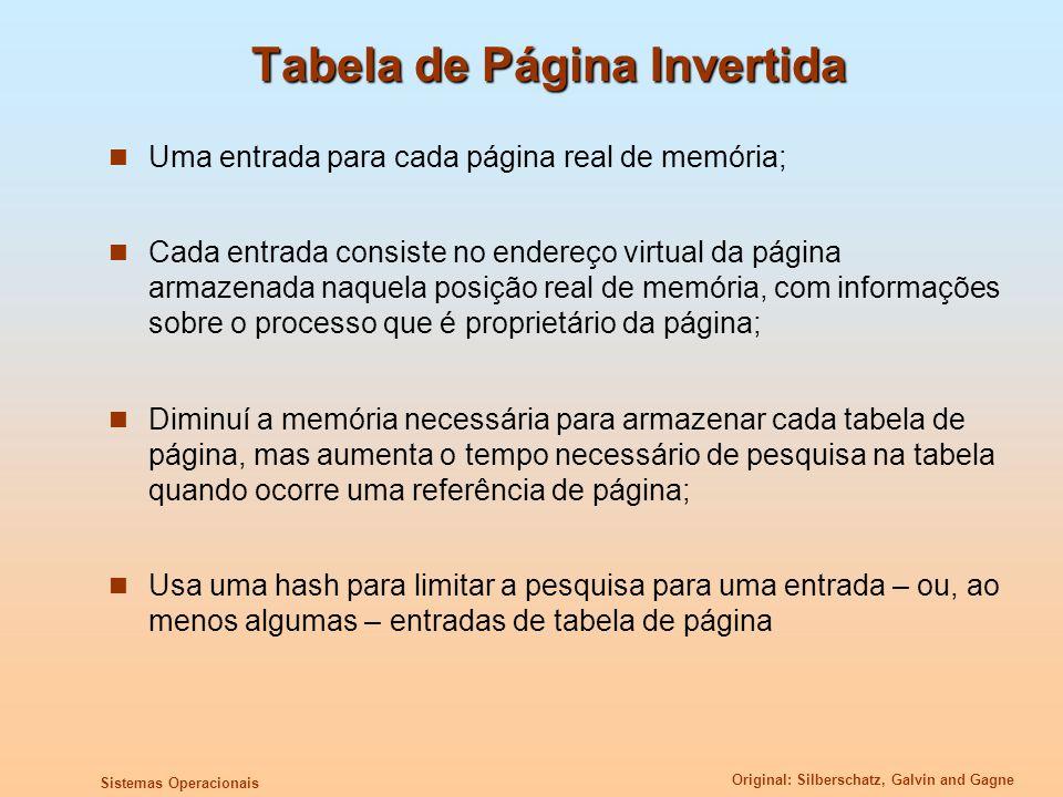 Original: Silberschatz, Galvin and Gagne Sistemas Operacionais Tabela de Página Invertida Uma entrada para cada página real de memória; Cada entrada c