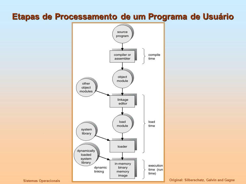 Original: Silberschatz, Galvin and Gagne Sistemas Operacionais Arquitetura de Segmentação Endereço Lógico consiste de uma dupla:, Tabela de Segmentos – mapeia endereços bidimensionais para endereços unidimensionais físicos; Cada entrada da tabela tem: base – Contém o endereço físico de início no qual reside o segmento na memória; limite – especifica o tamanho do segmento; Registrador Base da Tabela de Segmentos (STBR) aponta para a localização da tabela de segmentos na memória; Registrador de Tamanho da Tabela de segmentos (STLR) indica o número de segmentos usados pelo programa; o número de segmento s é legal se s < STLR