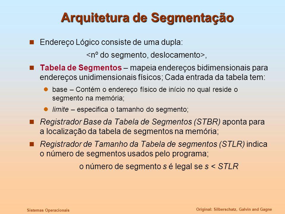 Original: Silberschatz, Galvin and Gagne Sistemas Operacionais Arquitetura de Segmentação Endereço Lógico consiste de uma dupla:, Tabela de Segmentos