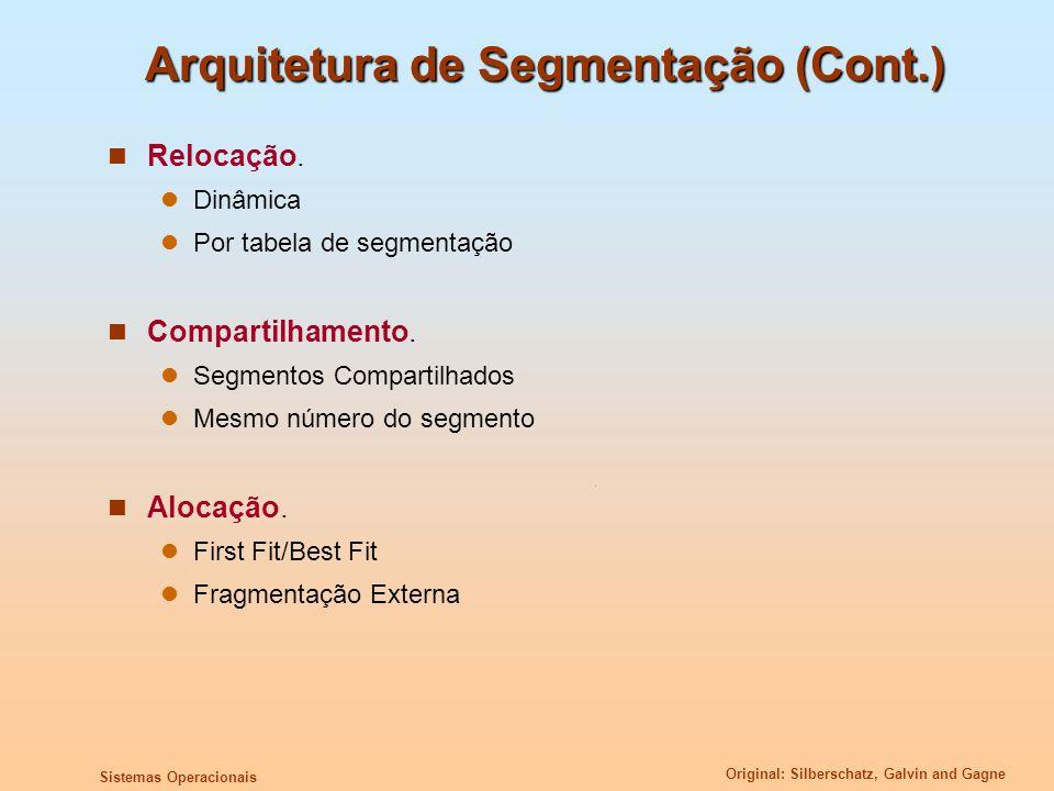 Original: Silberschatz, Galvin and Gagne Sistemas Operacionais Arquitetura de Segmentação (Cont.) Relocação. Dinâmica Por tabela de segmentação Compar
