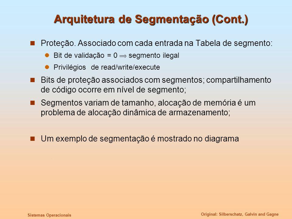 Original: Silberschatz, Galvin and Gagne Sistemas Operacionais Arquitetura de Segmentação (Cont.) Proteção. Associado com cada entrada na Tabela de se