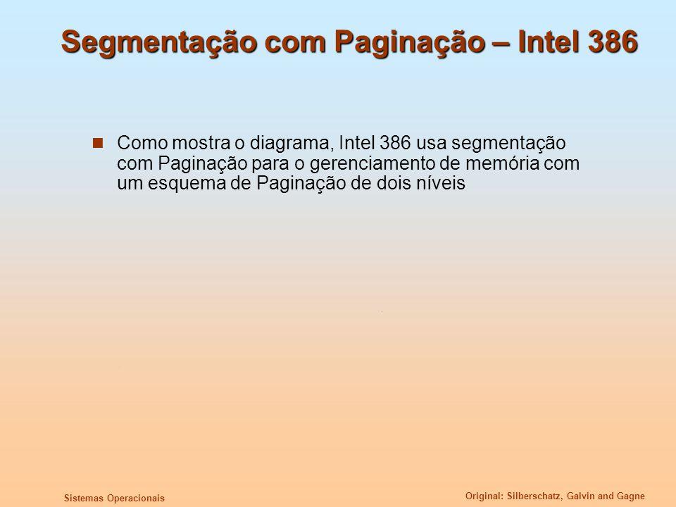 Original: Silberschatz, Galvin and Gagne Sistemas Operacionais Segmentação com Paginação – Intel 386 Como mostra o diagrama, Intel 386 usa segmentação