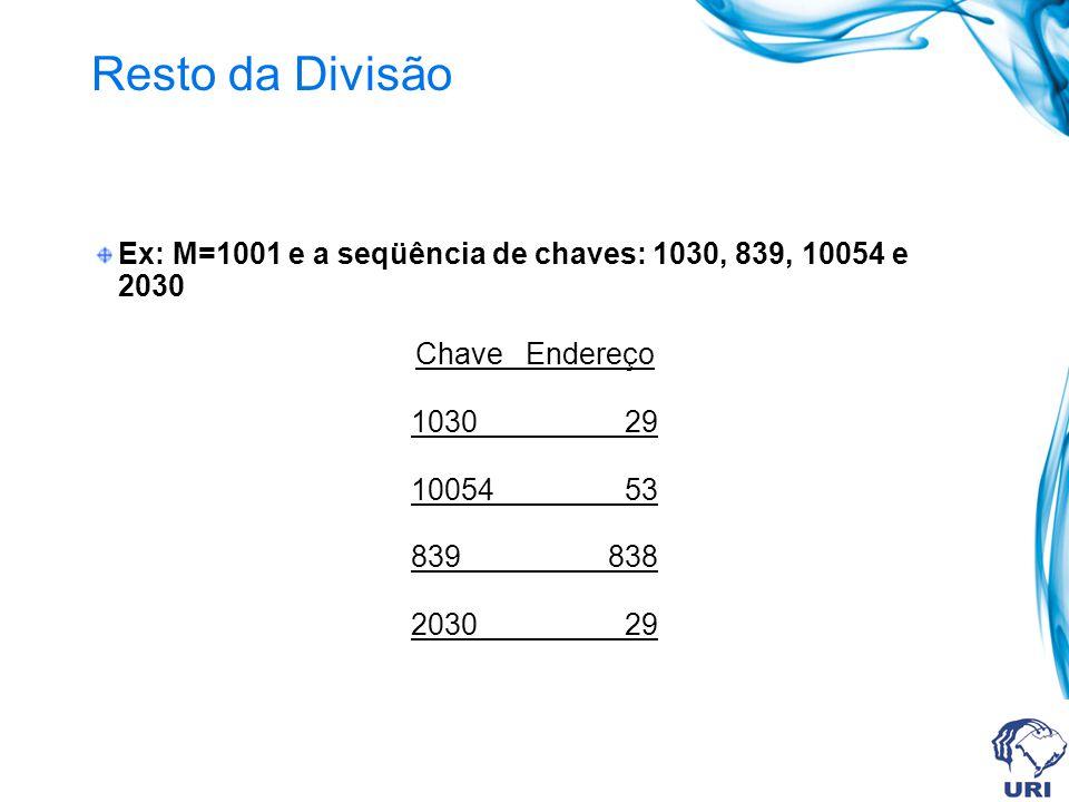 Resto da Divisão Ex: M=1001 e a seqüência de chaves: 1030, 839, 10054 e 2030 Chave Endereço 1030 29 10054 53 839 838 2030 29