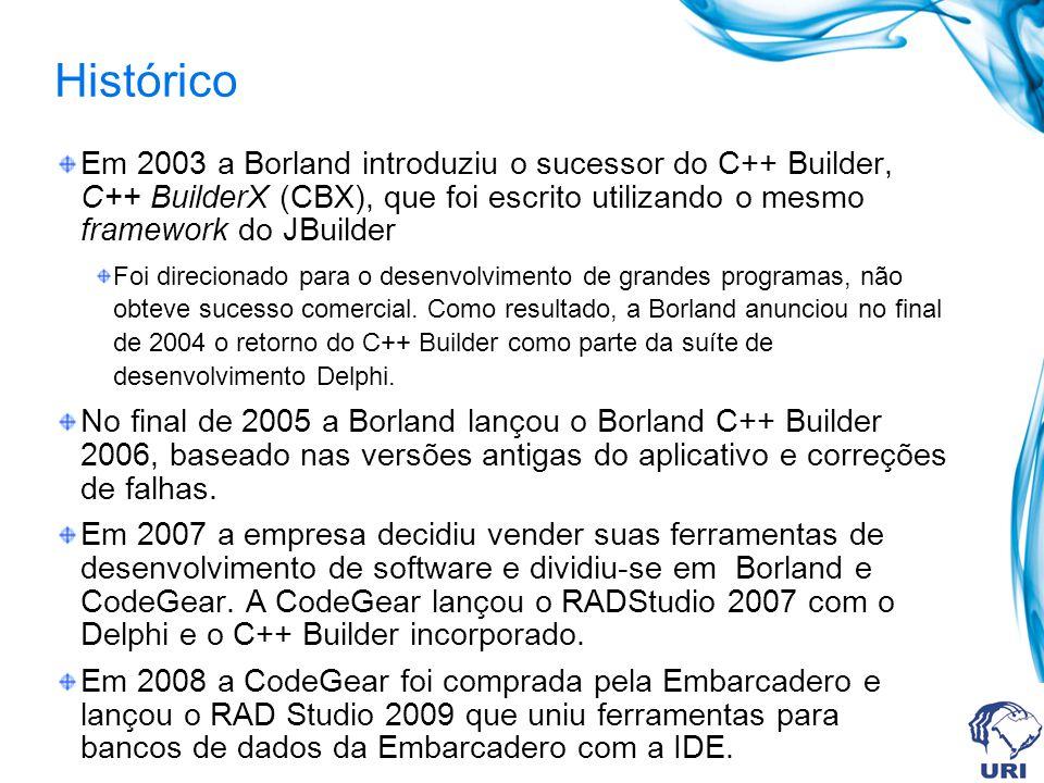 Histórico Em 2003 a Borland introduziu o sucessor do C++ Builder, C++ BuilderX (CBX), que foi escrito utilizando o mesmo framework do JBuilder Foi direcionado para o desenvolvimento de grandes programas, não obteve sucesso comercial.