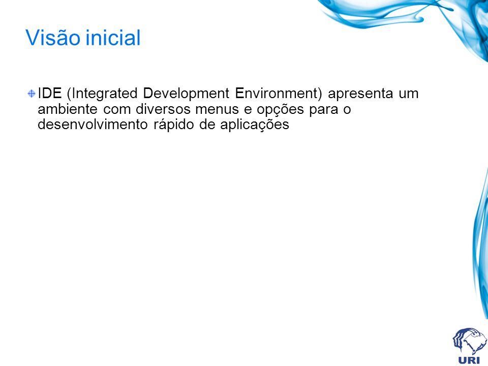 Visão inicial IDE (Integrated Development Environment) apresenta um ambiente com diversos menus e opções para o desenvolvimento rápido de aplicações