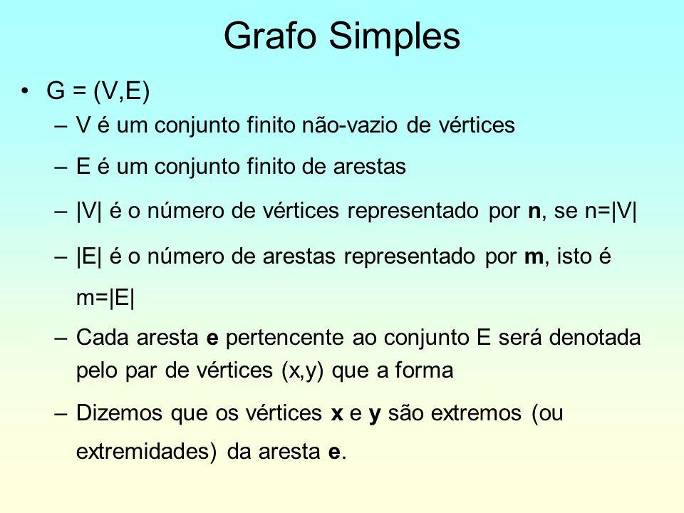 G = (V,E) –V é um conjunto finito não-vazio de vértices –E é um conjunto finito de arestas –|V| é o número de vértices representado por n, se n=|V| –|E| é o número de arestas representado por m, isto é m=|E| –Cada aresta e pertencente ao conjunto E será denotada pelo par de vértices (x,y) que a forma –Dizemos que os vértices x e y são extremos (ou extremidades) da aresta e.