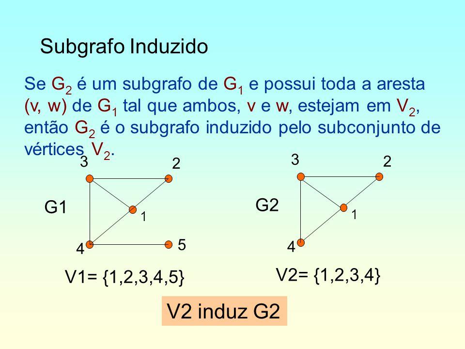 Subgrafo Induzido Se G 2 é um subgrafo de G 1 e possui toda a aresta (v, w) de G 1 tal que ambos, v e w, estejam em V 2, então G 2 é o subgrafo induzido pelo subconjunto de vértices V 2.