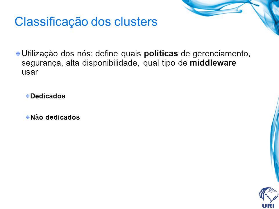 Classificação dos clusters Utilização dos nós: define quais políticas de gerenciamento, segurança, alta disponibilidade, qual tipo de middleware usar