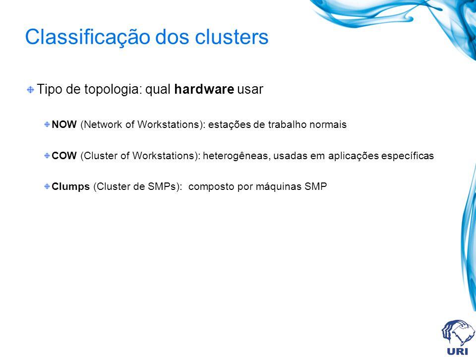 Classificação dos clusters Tipo de topologia: qual hardware usar NOW (Network of Workstations): estações de trabalho normais COW (Cluster of Workstati