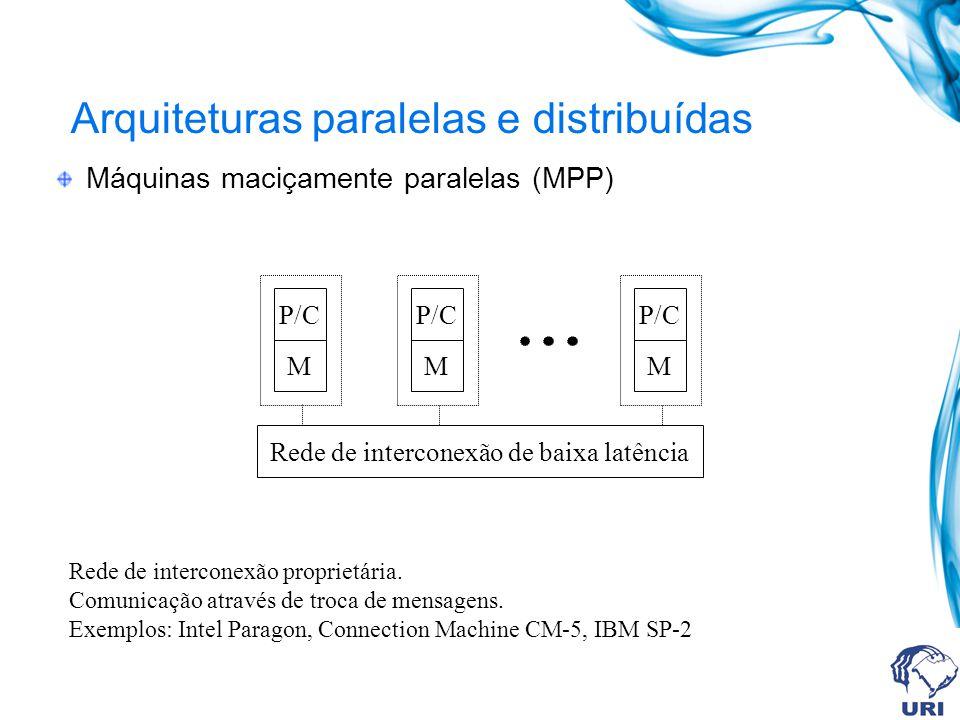 Arquiteturas paralelas e distribuídas Máquinas maciçamente paralelas (MPP) P/C M M M Rede de interconexão de baixa latência Rede de interconexão propr