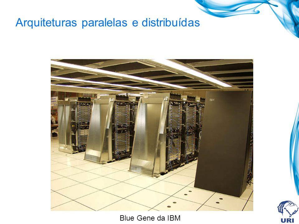 Arquiteturas paralelas e distribuídas Máquinas com memória compartilhada distribuída (DSM) P/C M M M Rede de interconexão de baixa latência NUMA / NORMA Os processadores podem acessar todas as memórias.