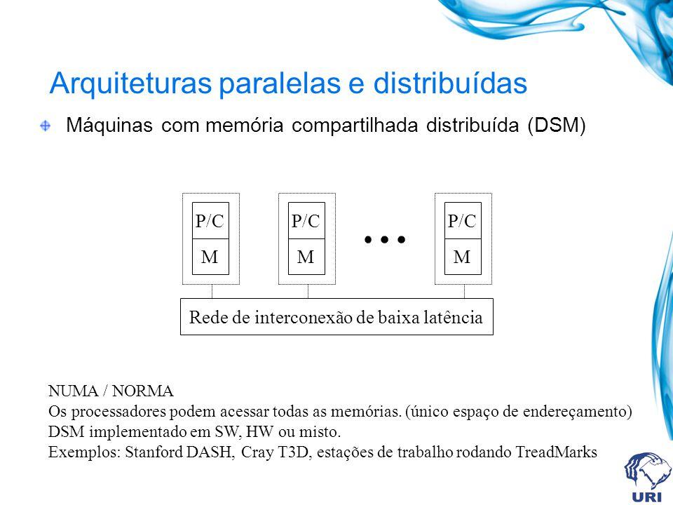 Arquiteturas paralelas e distribuídas Máquinas com memória compartilhada distribuída (DSM) P/C M M M Rede de interconexão de baixa latência NUMA / NOR