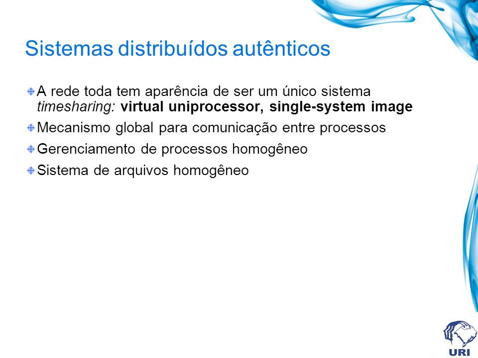 Sistemas distribuídos autênticos A rede toda tem aparência de ser um único sistema timesharing: virtual uniprocessor, single-system image Mecanismo gl