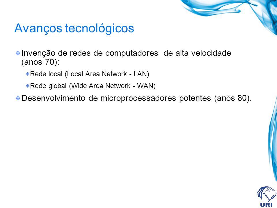 Avanços tecnológicos Invenção de redes de computadores de alta velocidade (anos 70): Rede local (Local Area Network - LAN) Rede global (Wide Area Netw