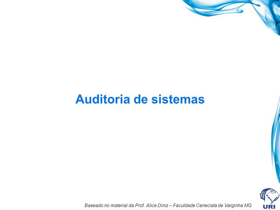 Conceitos de auditoria Ponto de Controle: Situação do ambiente computacional considerada pelo auditor como sendo de interesse para validação e avaliação.
