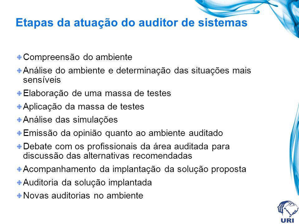 Perfil do Auditor de Sistemas Ser independente às áreas a serem auditadas Ter formação em auditoria de computação, conhecendo o ambiente a ser auditado
