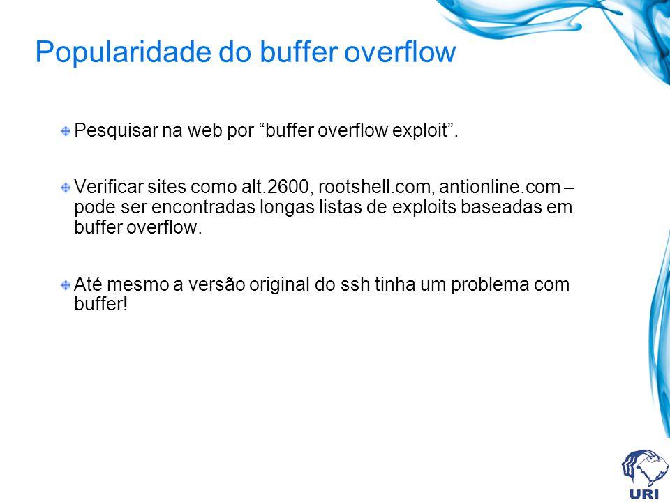 Popularidade do buffer overflow Pesquisar na web por buffer overflow exploit.