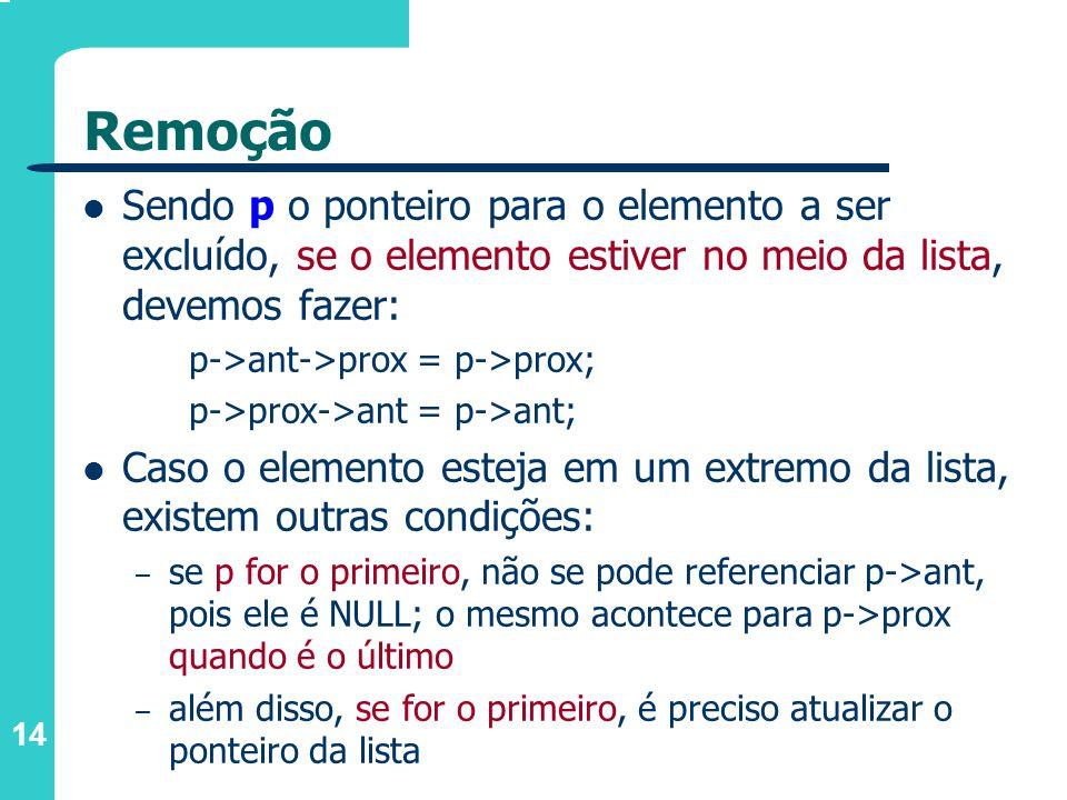 14 Remoção Sendo p o ponteiro para o elemento a ser excluído, se o elemento estiver no meio da lista, devemos fazer: p->ant->prox = p->prox; p->prox->