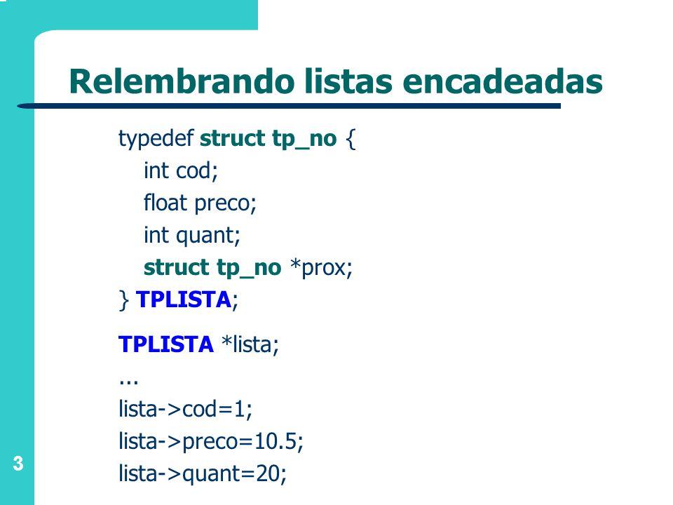 3 Relembrando listas encadeadas typedef struct tp_no { int cod; float preco; int quant; struct tp_no *prox; } TPLISTA; TPLISTA *lista;... lista->cod=1