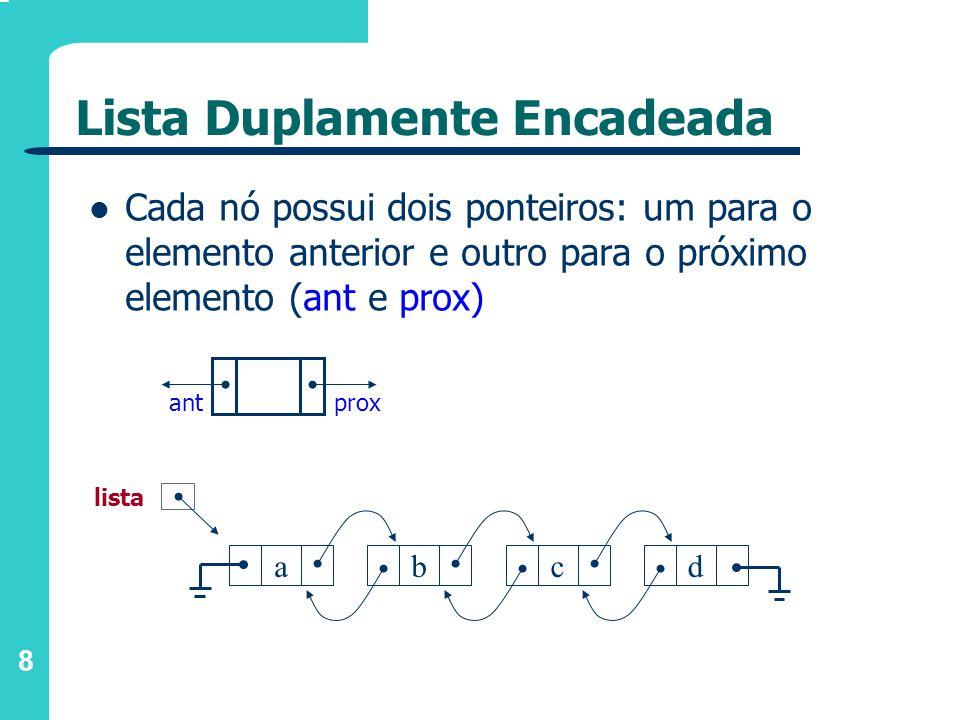 8 Cada nó possui dois ponteiros: um para o elemento anterior e outro para o próximo elemento (ant e prox) proxant abcd lista Lista Duplamente Encadeada