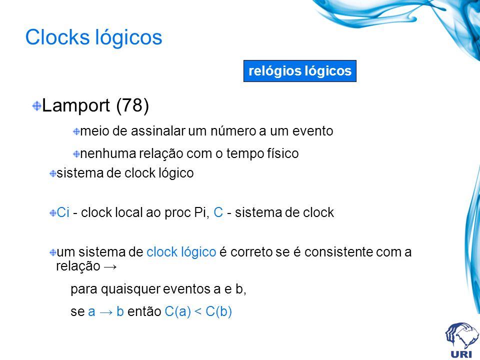 Lamport (78) meio de assinalar um número a um evento nenhuma relação com o tempo físico sistema de clock lógico Ci - clock local ao proc Pi, C - sistema de clock um sistema de clock lógico é correto se é consistente com a relação para quaisquer eventos a e b, se a b então C(a) < C(b) relógios lógicos Clocks lógicos