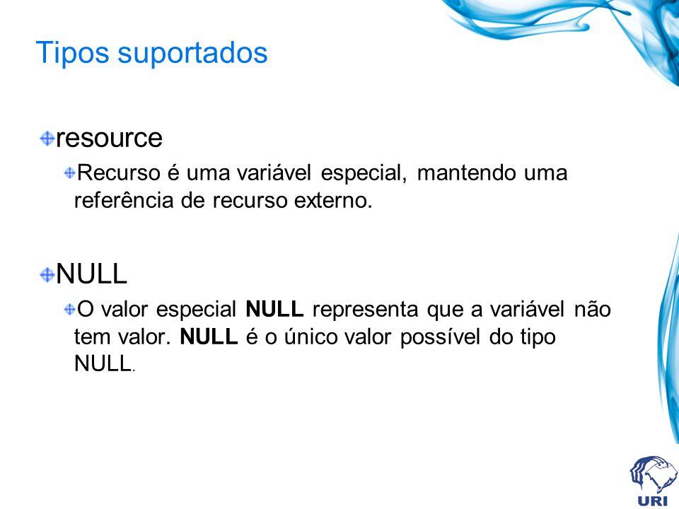 resource Recurso é uma variável especial, mantendo uma referência de recurso externo.