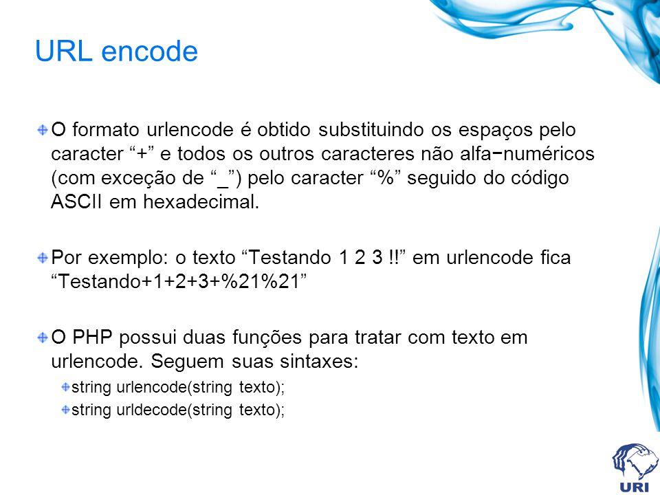 URL encode O formato urlencode é obtido substituindo os espaços pelo caracter + e todos os outros caracteres não alfanuméricos (com exceção de _) pelo caracter % seguido do código ASCII em hexadecimal.