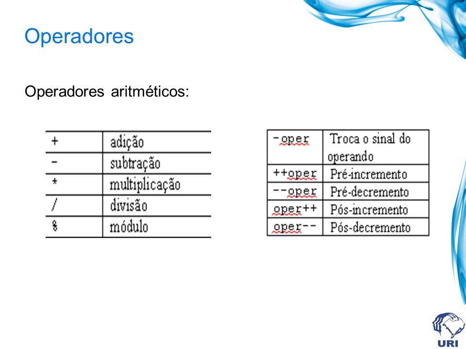 Operadores Operadores aritméticos: