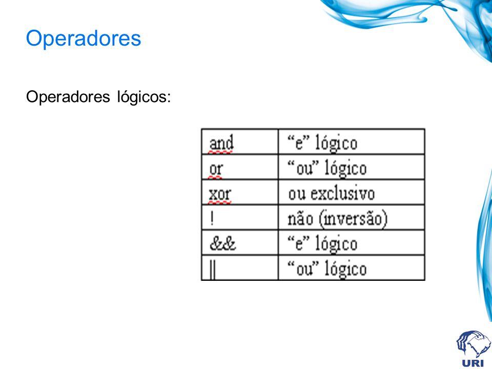 Operadores Operadores lógicos: