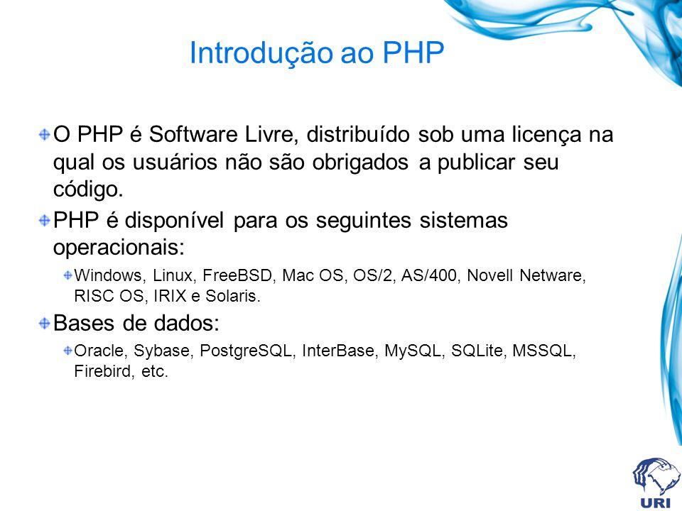 Introdução ao PHP O PHP é Software Livre, distribuído sob uma licença na qual os usuários não são obrigados a publicar seu código.