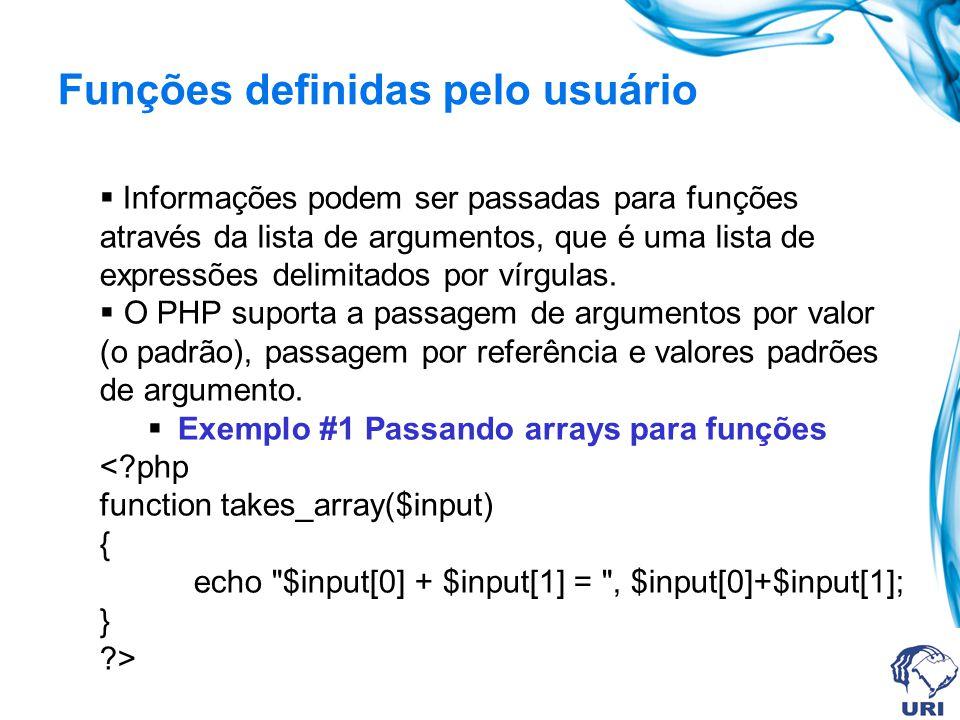 Funções definidas pelo usuário Informações podem ser passadas para funções através da lista de argumentos, que é uma lista de expressões delimitados por vírgulas.