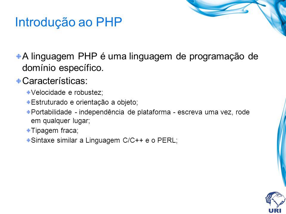 Introdução ao PHP A linguagem PHP é uma linguagem de programação de domínio específico.