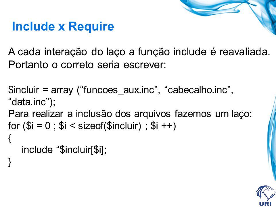 Include x Require A cada interação do laço a função include é reavaliada.