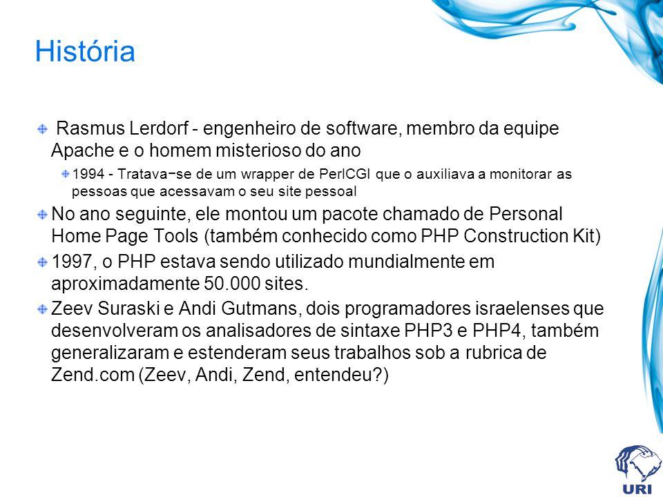 História Rasmus Lerdorf - engenheiro de software, membro da equipe Apache e o homem misterioso do ano 1994 - Tratavase de um wrapper de PerlCGI que o auxiliava a monitorar as pessoas que acessavam o seu site pessoal No ano seguinte, ele montou um pacote chamado de Personal Home Page Tools (também conhecido como PHP Construction Kit) 1997, o PHP estava sendo utilizado mundialmente em aproximadamente 50.000 sites.