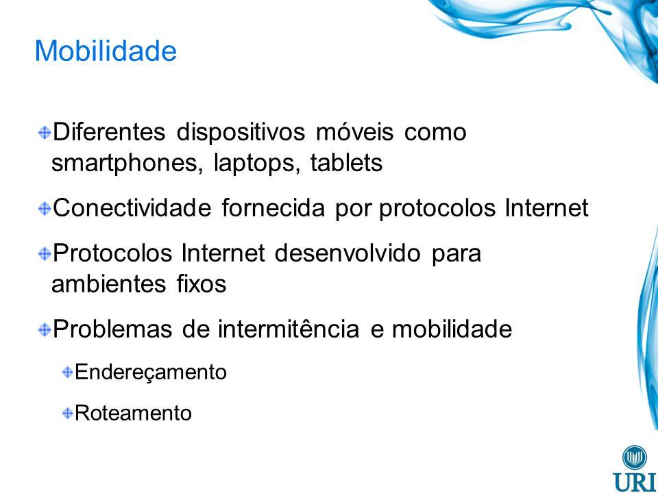 Mobilidade Diferentes dispositivos móveis como smartphones, laptops, tablets Conectividade fornecida por protocolos Internet Protocolos Internet desen