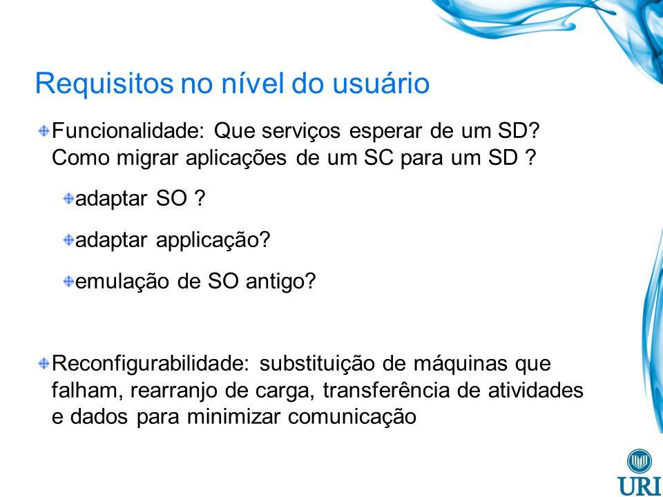 Requisitos no nível do usuário Funcionalidade: Que serviços esperar de um SD? Como migrar aplicações de um SC para um SD ? adaptar SO ? adaptar applic