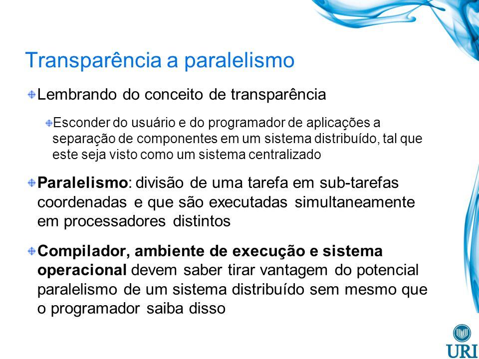 Transparência a paralelismo Lembrando do conceito de transparência Esconder do usuário e do programador de aplicações a separação de componentes em um