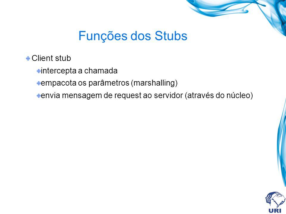 Funções dos Stubs Client stub intercepta a chamada empacota os parâmetros (marshalling) envia mensagem de request ao servidor (através do núcleo)