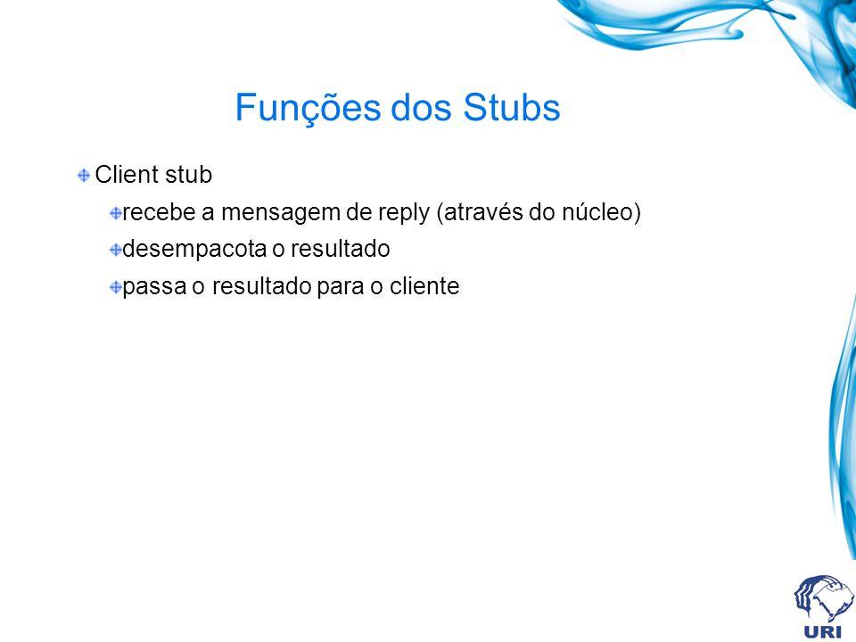 Funções dos Stubs Client stub recebe a mensagem de reply (através do núcleo) desempacota o resultado passa o resultado para o cliente