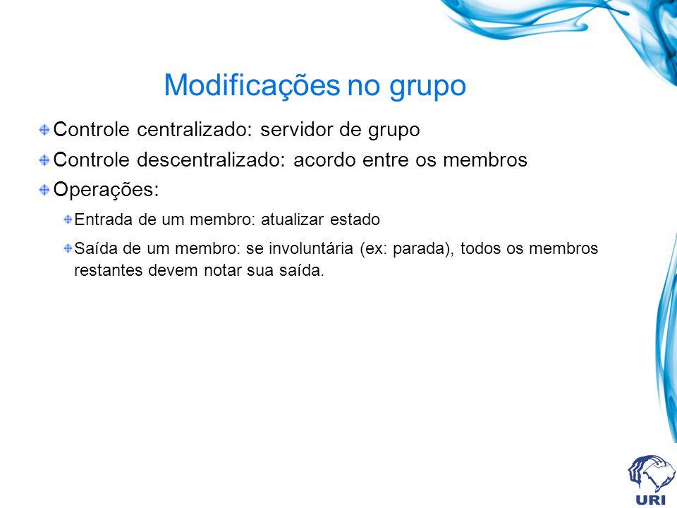 Modificações no grupo Controle centralizado: servidor de grupo Controle descentralizado: acordo entre os membros Operações: Entrada de um membro: atualizar estado Saída de um membro: se involuntária (ex: parada), todos os membros restantes devem notar sua saída.